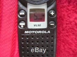 2 Motorola VL50 Two Way Portable Radios with chargers Walkie Talkie belt clips