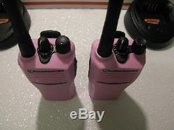 2 PINK Motorola CP200 Two Way Radio 16 CH Charger NEWBatteries VHF Walkie Talkie