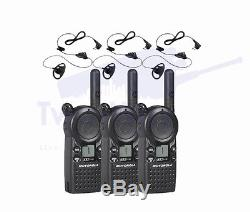 3 Motorola CLS1110 Two Way Radio Walkie Talkie with 3 HKLN4599 PTT Earpieces