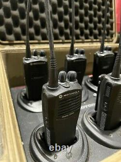 6 Motorola CP200 Walkie Talkie Radios With Multicharger and Case 4CH Units