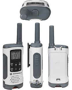 6 PACK Rechargeable Walkie Talkie NOAA Weather 2 Way Radios WHITE Small 25 Mile