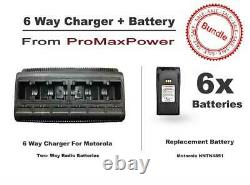 6x Motorola Radio Batteries NNTN4851 with Gang 6-Bank Charger for CP200 340, EP450