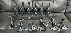 Lot of 6 Motorola CLS1110 UHF 2-Way Walkie Talkie, 6 Headsets & a 6 slot charger
