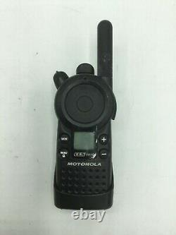 Lot of 6 Motorola CLS1410 Walkie Talkies & Charger HCTN4002A Earpieces, Holsters