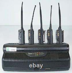 Motorola Impres WPLN4121BR 6-Unit Gang Charger with 5x MTS 2000 I Walkie Talkies