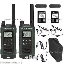 Motorola Talkabout T465 Walkie Talkie Set 35 Mile Two Way Radio w Earbuds + Case