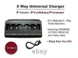 Two-Way Radio 6 Bank Port Battery Charger for Motorola HNN9008, HT1250, PRO5150